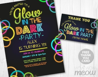 Glow in the Dark Invitations Party Invite Birthday INSTANT DOWNLOAD Neon Paint Girls Boys Digital Customize Personalize Editable Printable