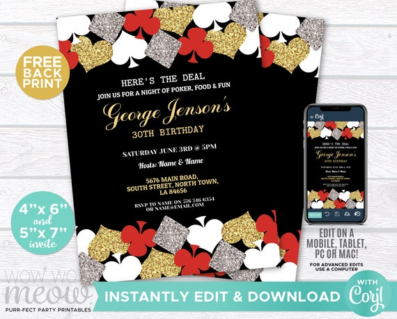 It is a graphic of Free Printable Casino Party Invitations with regard to template