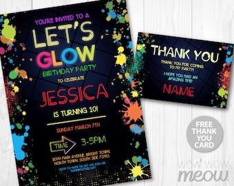 NEON Let's Glow Party Invite Invitation Birthday Any Age INSTANT DOWNLOAD Dark Paint Girls Boys Customize Personalize Editable Printable
