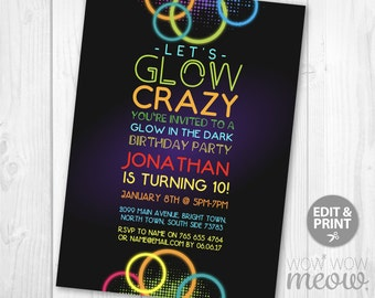 Let's Glow Crazy Invitation Glow in the Dark Invites Party Birthday Any Age INSTANT DOWNLOAD Paint Girls Boys Customize Editable Printable