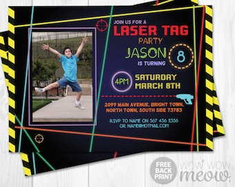 Laser Tag Invitations Photo Birthday Party Any Age Let's Glow Dark INSTANT DOWNLOAD Quest Invite Neon Girls Boys Digital Editable Printable