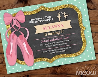 Ballet Invitations Pink Tutu Birthday Dance Invites Polka Dot INSTANT DOWNLOAD Any Age Chalk Ballerina Girls Mint Party Editable Printable