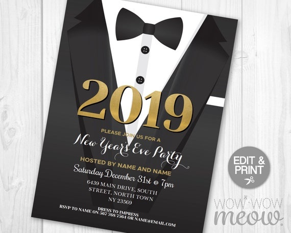 new year s eve party invitations 2019 suit tuxedo dinner etsy