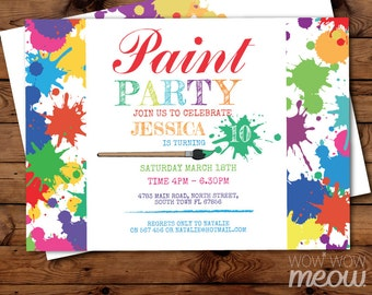 Paint Party Invite Art Birthday Invitation Any Age INSTANT DOWNLOAD Painting Palette Girls Boys Customize Personalize Editable Printable