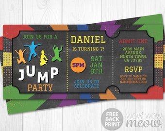Trampoline Invitation JUMP Party Invite Ticket Birthday ANY AGE Instant Download Sports Customize Personalize Editable Girls Boys Printable