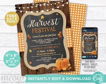 Fall Harvest Festival Invitations Party Rustic Invite Printable INSTANT DOWNLOAD 5x7 Event Church Lights Autumn Personalize Editable WCHF001