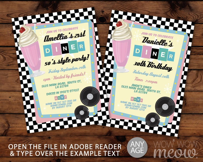 Fifties Invitations Milkshake Diner 50s Diner Rock N Roll Birthday Invites  INSTANT DOWNLOAD Pink Retro 1950's Pink Blue Editable Printable