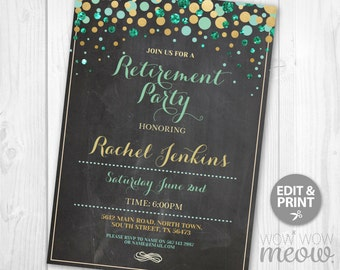 Retirement Invitation Teal Gold Chalk Retired Invite INSTANT DOWNLOAD Womens School Flowers Printable College Digital Editable Personalize