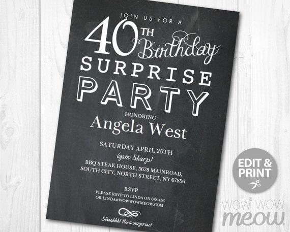 Surprise 40th Birthday Invitations Elegant Chalk Party Invite