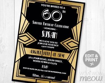 Surprise Gatsby Invitation Art Deco 1920s Birthday Invite Party Invitation INSTANT DOWNLOAD Gold Black Personalize Editable & Printable EDIT