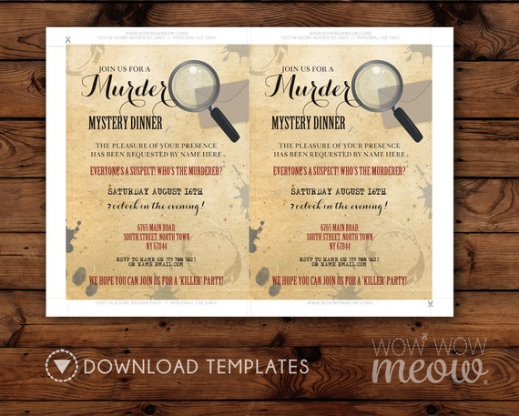 Murder Mystery Dinner Invitation Party Birthday Invite Spy Etsy