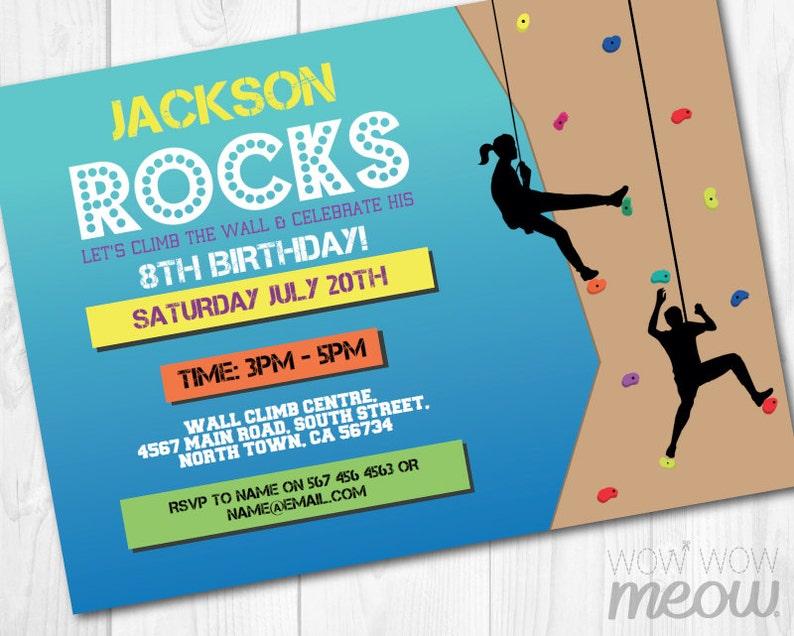 Rock Climbing Invitations Indoor Wall Invites