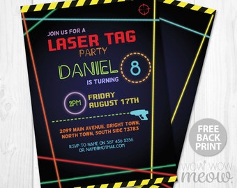 Laser Tag Invitations Birthday Party Any Age Let's Glow Dark INSTANT DOWNLOAD Lazer Quest Invite Neon Girls Boys Digital Editable Printable