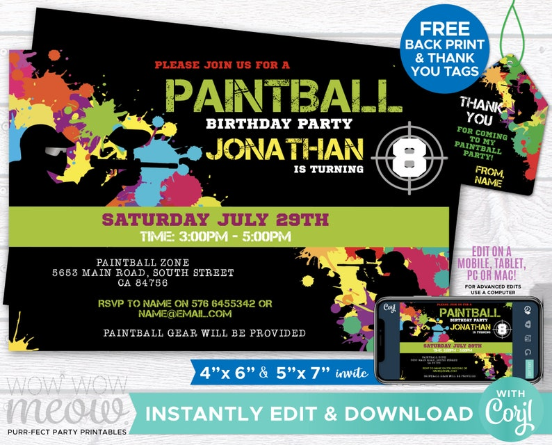 Paintball Invitations Birthday Party Invites Paint Ball Any Age Boy Girls  Invite INSTANT DOWNLOAD Digital Personalize Edit Printable WCBK022