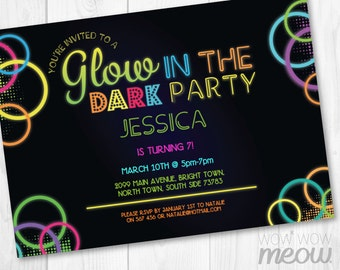Glow in the Dark Invitations Party Invite Birthday Any Age INSTANT DOWNLOAD Neon Paint Girls Boys Customize Personalize Editable Printable