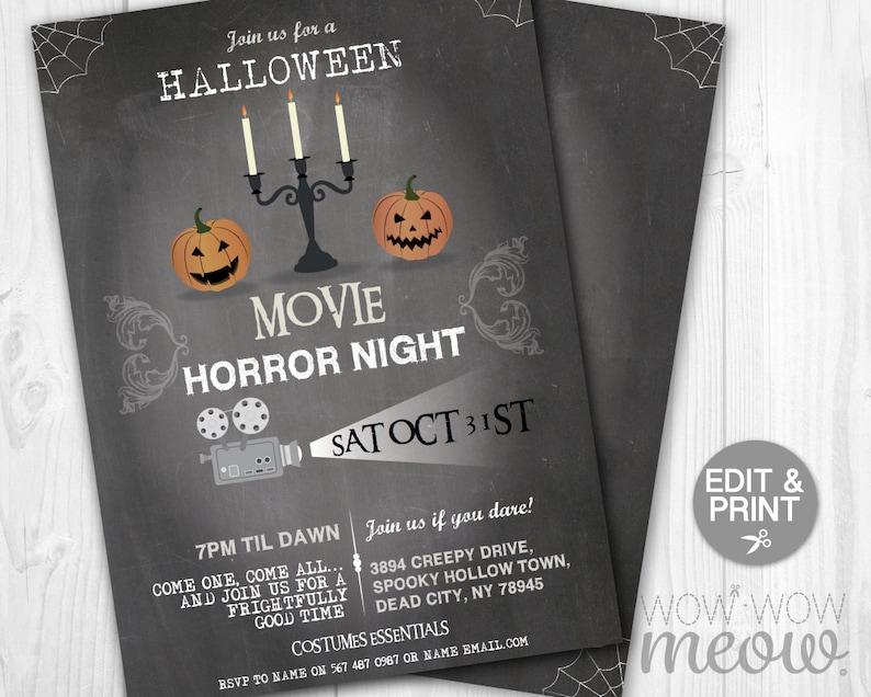 Halloween Invitations Horror Movie Night Film Party Printable INSTANT  DOWNLOAD Pumpkins Retro Invite Personalized Editable Edit & Print