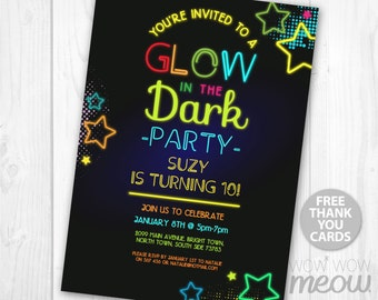 Glow in the Dark Party Invite Birthday Invitation ANY AGE 8 9 10 11 Download Neon Paint Girls Boys Customize Personalize Editable Printable