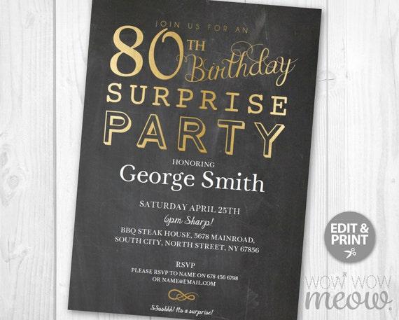 SURPRISE 80th Birthday Invitations Elegant Gold Party Invite