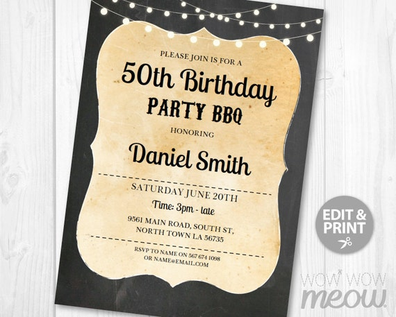 Rustic Birthday Invitation BBQ Invite INSTANT DOWNLOAD Party Cocktail Chalk Board Wood Lights Vintage Digital Personalize