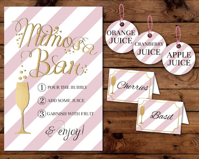 MIMOSA BAR Sign Tags & Tents Signs Printables Pink Gold Foil Perfect for Baby Showers Bridal Party Labels Fruit INSTANT Download Edit Print