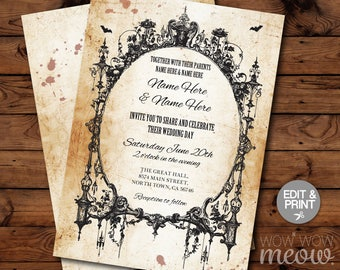 Halloween Wedding Invitations Party Rehearsal Dinner Couple's Shower Rustic Invite Printable INSTANT DOWNLOAD Scray Personalize Editable