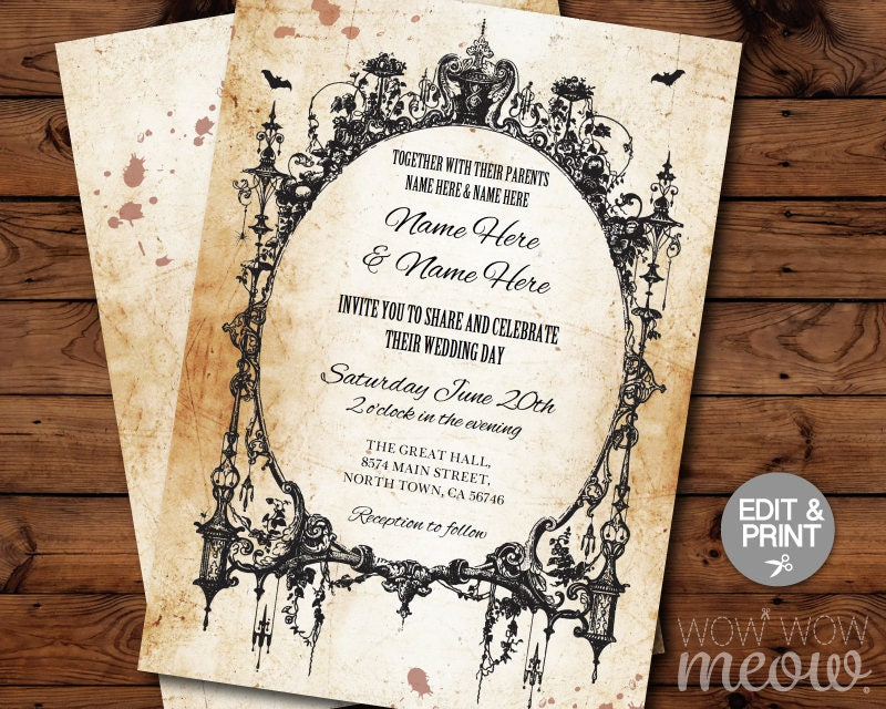 Halloween Wedding Invitation: Halloween Wedding Invitations Party Rehearsal Dinner