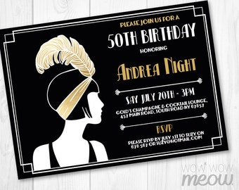 Gold 1920's Invitation Gold Birthday Invite Art Deco Any Age Gatsby Party INSTANT DOWNLOAD Vintage Retro Personalize Editable Printable