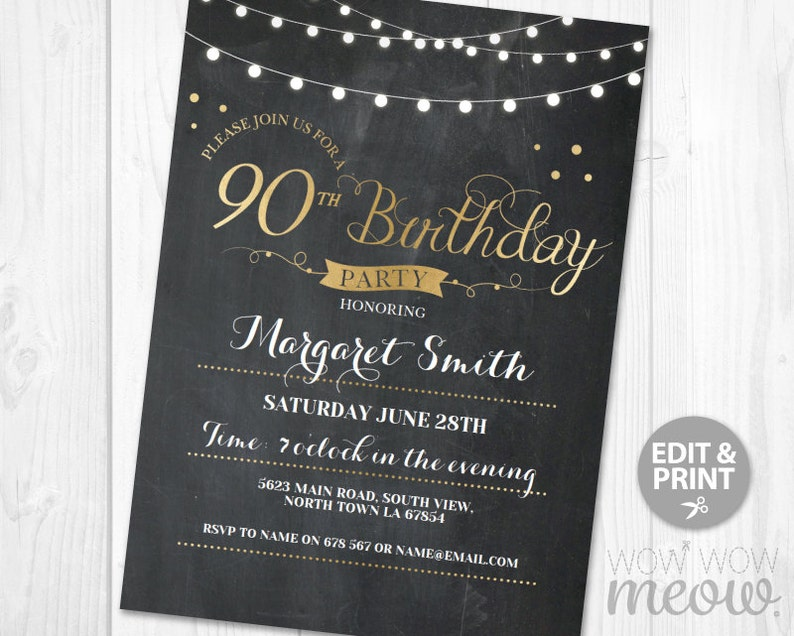 photograph regarding Free Printable 90th Birthday Invitations referred to as 90th Birthday Invitation Exquisite 90 Invites Bash Chalk Womens Mens Immediate Down load Editable Printable Customize Lighting Print