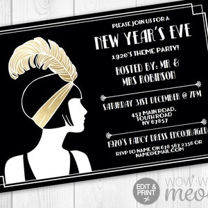 new years eve gatsby party invitations black gold roaring twenties 1920s invites printable instant download nye editable printable digital