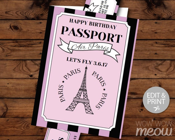 PARIS Birthday Invitation Passport Plane Ticket Invite Eiffel