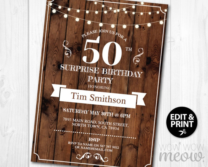 Surprise 50th Birthday Invite Rustic Party Invitation Wood