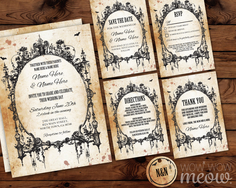 Picture Frame Wedding Invitations: Wedding Invitations Gothic Frame Set Template Rustic