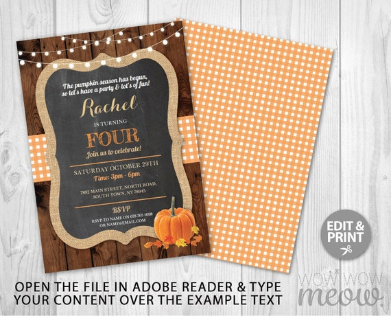Pumpkin Birthday Invitation Any Age Invite Girls