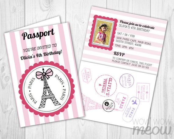 PARIS Passport Invitation INSTANT DOWNLOAD Add A Photo Pink