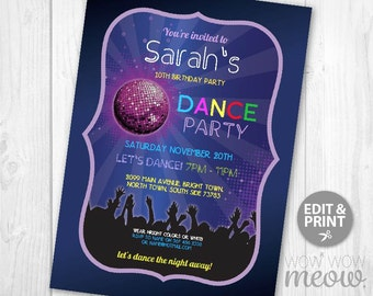 Disco Dance Invitations Party Invite Birthday INSTANT DOWNLOAD Glow in the Dark Girls Boys Digital Customize Personalize Editable Printable