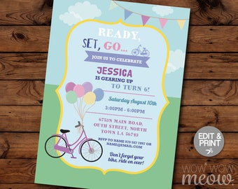 Bike Party Invitation Cycle Invite Birthday Any Age INSTANT DOWNLOAD Park Bike Riding Customize Personalize Editable Girls Boys Printable