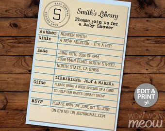 Library Card Blue Baby Shower Invitation It's a Boy Book Invite Librarian INSTANT DOWNLOAD its Twins Party Personalize Editable Printable