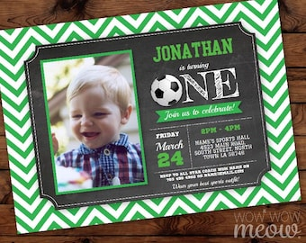 First Birthday Photo Invitations Boy's Soccer Green Sports Invite INSTANT DOWNLOAD Ball Personalize 1 One Party Football Editable Printable