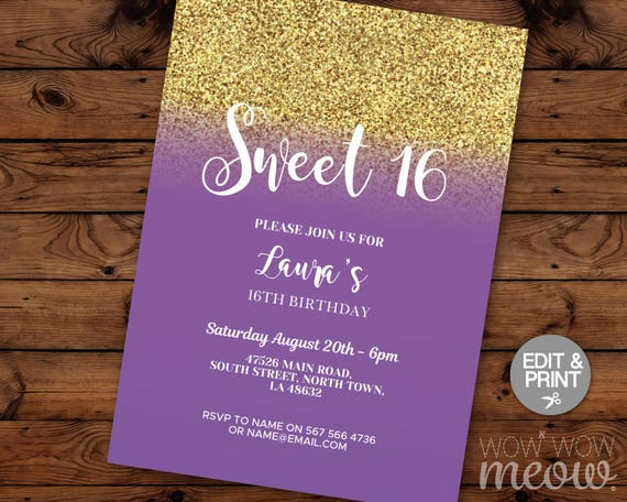 Elegant Gold Purple Sweet 16 Birthday Invitations Party Invite