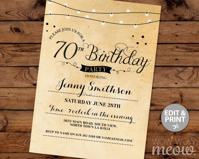 70th Birthday Invitation Elegant Seventy Invitations Party Womens Mens Instant Download Editable Printable Vintage Personalize Lights Print