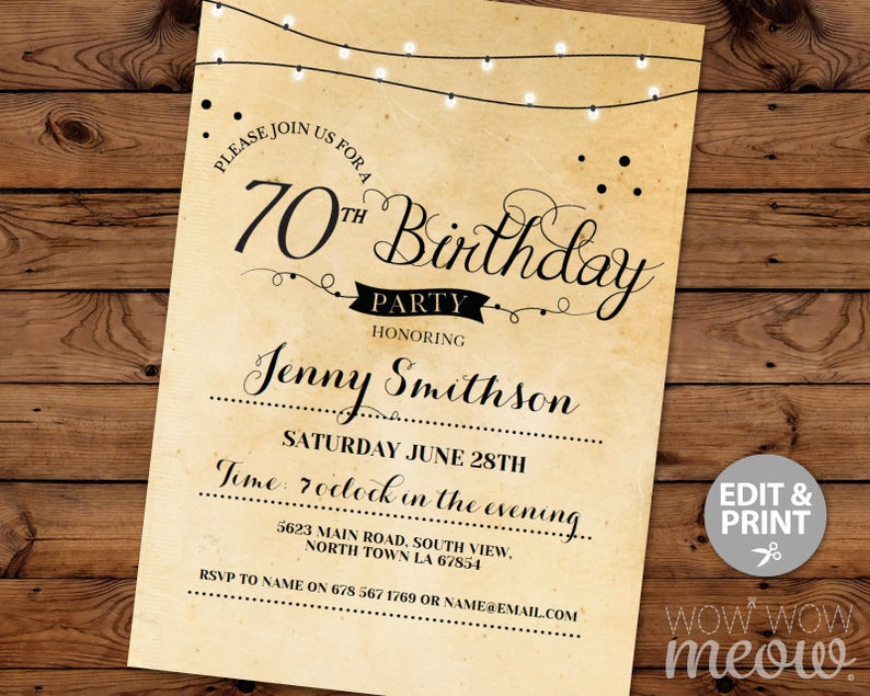 70th Birthday Invitation Elegant Seventy Invitations Party