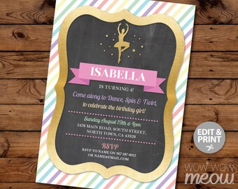 Ballet Invitations Any Age Birthday Dance Invites Rainbow INSTANT DOWNLOAD Chalk Multi Ballerina TuTu Girls Gold PartyEditable Printable