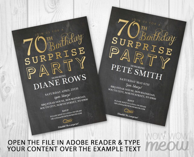SURPRISE 70th Birthday Invitations Elegant Gold Party Invite Chalk SEVENTY Mens Womens 70 Download Editable Printable Personalize