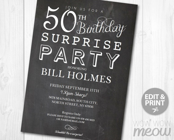 50th surprise birthday invitation chalk board fifty party etsy