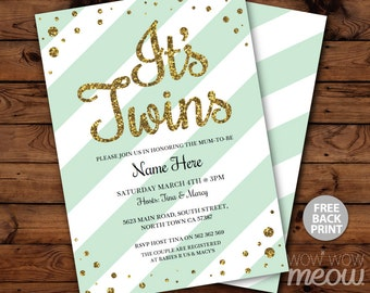 It's TWINS Baby Shower Invitation INSTANT DOWNLOAD Gold Glitter Boy Girl Personalize Digital Party Invites Editable & Printable Edit @Home