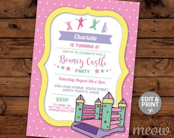 Bouncy Castle Party Invitation Pink Girl's Jump Bounce Invite Birthday Any Age INSTANT DOWNLOAD Stars Purple Personalize Editable Printable
