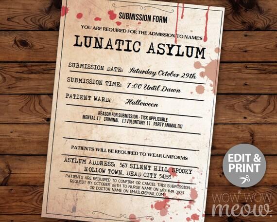 lunatic asylum halloween invitation party mental hospital etsy