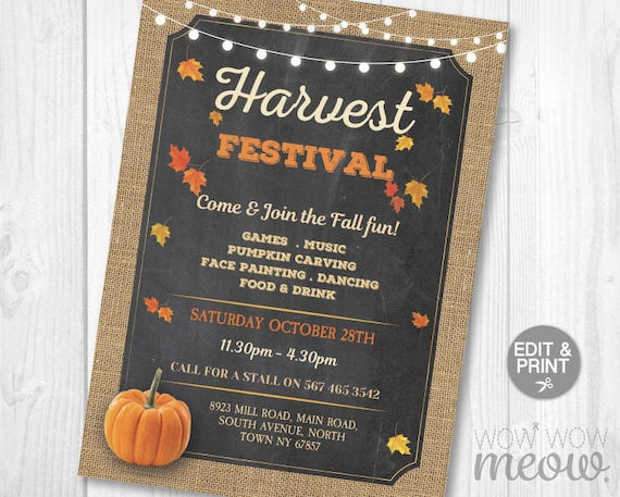 Wedding Festival Invitations: Fall Harvest Festival Invitations Party Event Rustic