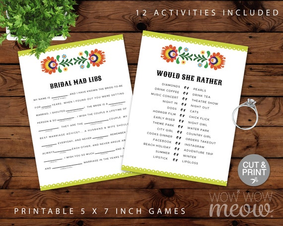 Bridal Shower Fiesta Games Mexican Bachelorette Package Set Printable  INSTANT DOWNLOAD Mad Libs Advice Card Word Purse Bingo Guess Print BG4
