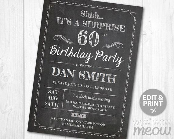 Surprise 60th Birthday Invitations SIXTY Invite Chalk Board
